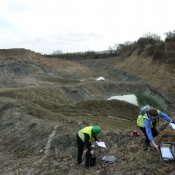 Examining features in an Oxfordshire quarry.