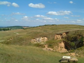 Rolling bank at Cleeve, part of the Cotswold Hills Geopark.