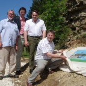 Mark Campbell from Gloucestershire Geology Trust with the managers of Huntsmans Quarry, Gloucestershire.