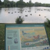 Interpretation board at Needham Lakes, Suffolk.