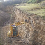Building a ramp at Foss Cross Quarry, Gloucestershire.
