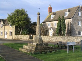 Distinctive Cornbrash is used in many old buildings in the Gloucestershire village of South Cerney.  The Saxon cross is a landmark in the village.