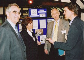 Sir Keith Onions and Liz Lynne MEP talking to Peter Oliver of H&WEHT and Mark Campbell of GGT at the Geopark launch event in Ledbury.